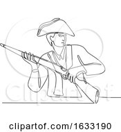 Poster, Art Print Of American Minuteman Patriot Continuous Line