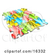 Pieces Of A Colorful Puzzle Connected Over A White Background Symbolizing Interlinking For Seo Website Marketing Teamwork And Diversity Clipart Illustration Graphic