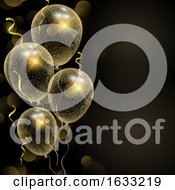 Celebration Background With Glittery Gold Balloons