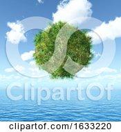 3D Grassy Globe Floating Over An Ocean Landscape