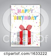 Poster, Art Print Of Birthday Card With Gift And Confetti