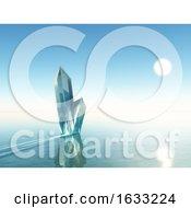 Poster, Art Print Of 3d Crystal Rock Formation In Blue Ocean