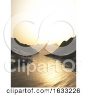 3D Mountains And Sea Against A Sunset Sky