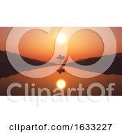 Poster, Art Print Of 3d Tree In Sunset Landscape