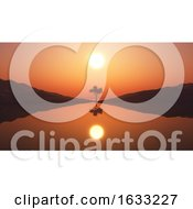 3D Tree In Sunset Landscape