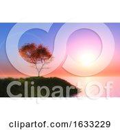3D Maple Tree Against A Sunset Sky