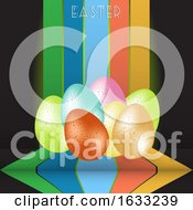 Poster, Art Print Of Esater Eggs And Text On Stripes Over Black