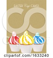 Easter Cup Cakes With Eggs And Text On Textured Background