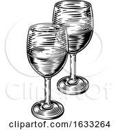 Wine Glasses Vintage Woodcut Etching Style