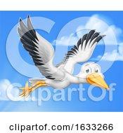 Poster, Art Print Of Stork Cartoon Pregnancy Myth Bird With New Baby