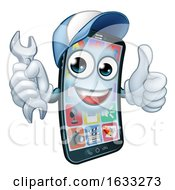 Mobile Phone Repair Spanner Thumbs Up Cartoon