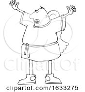Cartoon Black And White Male Angel Holding His Arms Up