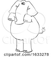 Cartoon Black And White Elephant Begging