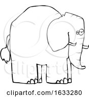Cartoon Black And White Elephant In Profile