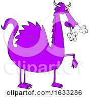03/12/2019 - Cartoon Purple Dragon Blowing Smoke From His Nostrils