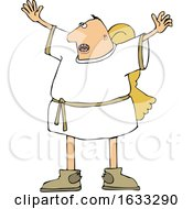 Poster, Art Print Of Cartoon Male Angel Holding His Arms Up