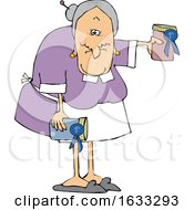 Cartoon White Granny Holding Her Prize Winning Jam