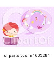 Kid Girl Story Telling Speech Bubble Illustration