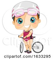 Kid Girl Triathlon Bicycle Illustration