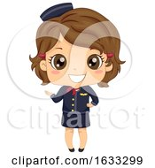 Kid Girl Stewardess Costume Illustration