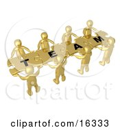 Team Of 8 Gold People Holding Up Connected Pieces To A Colorful Puzzle That Spells Out Team Symbolizing Excellent Teamwork Success And Link Exchanging