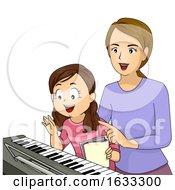 Kid Girl Piano Lesson Teacher Illustration