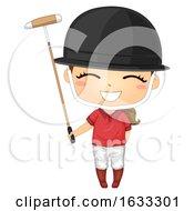 Kid Girl Polo Helmet Illustration