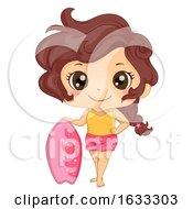 Kid Girl Skimboard Illustration