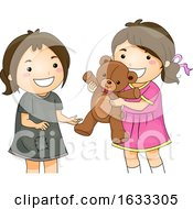 Kid Girls Share Toy Bear Unfortunate Illustration