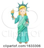 Kid Girl Statue Of Liberty Costume Illustration