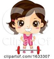 Kid Girl Weightlifter Illustration