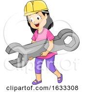 Kid Girl Wrench Construction Hat Illustration by BNP Design Studio