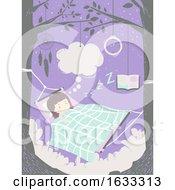 Kid Girl Hammock Sleep Dream Illustration