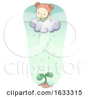Kid Girl Fantasy Cloud Water Plant Illustration