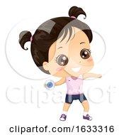 Kid Girl Discus Thrower Illustration