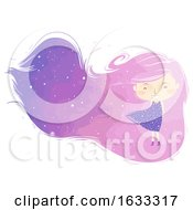 Kid Girl Dreamy Hair Background Illustration