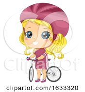 Kid Girl Cyclist Bicycle Illustration