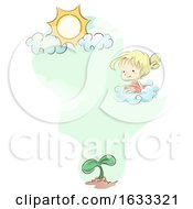 Kid Girl Cloud Sun Plant Illustration
