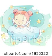 Kid Girl Angel Clouds Stars Numbers Illustration
