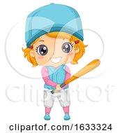 Kid Girl Baseball Batter Illustration