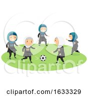 Stickman Kids Girls Play Football Illustration