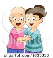 Kids Girls Alopecia Friends Hug Illustration