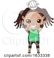 Kid Girl Black Volleyball Setter Illustration