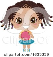 Kid Girl Black Bowling Illustration