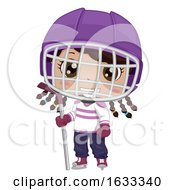 Kid Girl Black Ice Hockey Outfit Illustration