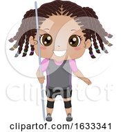 Kid Girl Black Javelin Throw Illustration