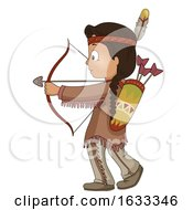 Kid Boy American Indian Bow Arrow Illustration