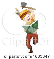 Kid Boy American Indian Book Illustration