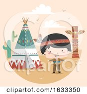 Kid Boy Native American Indian Tipi Illustration