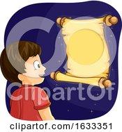 Poster, Art Print Of Kid Boy Magical Scroll Illustration